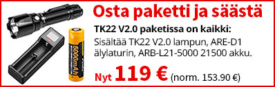 Fenix TK22 V2.0 lamppupaketti