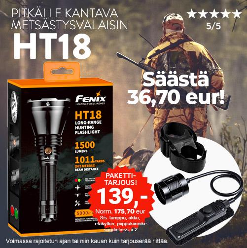 Fenix HT18 metsästyslamppu, metsästysvalaisin, paras lamppu metsälle, punasuodin