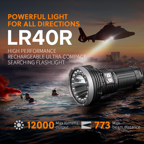 Fenix LR40R rechargeable ultra-compact searching flashlight