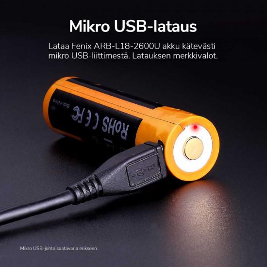 USB-rechargeable 18650 Li-ion battery