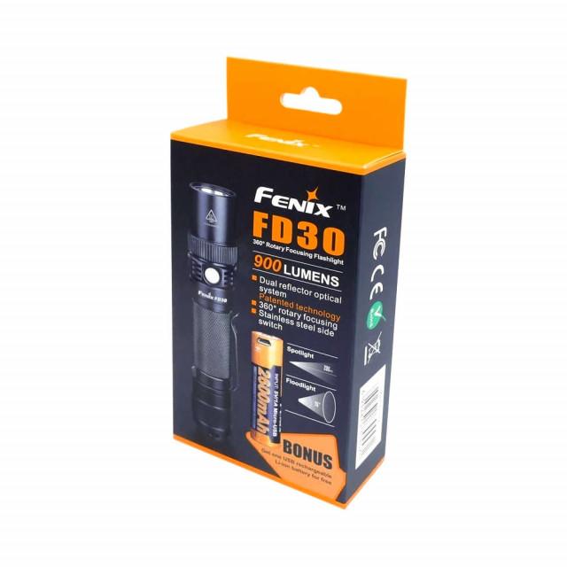 Fenix FD30 säädettävä taskulamppu + bonus akku