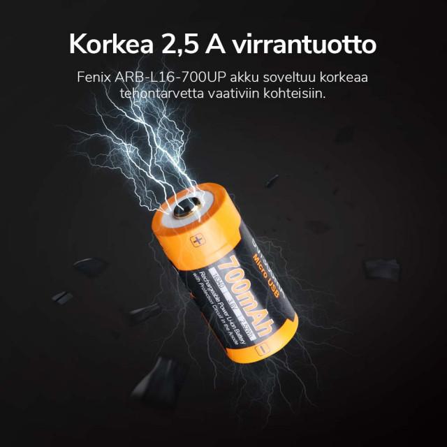 Akkuparisto Fenix ARB-L16-700UP 16340 USB