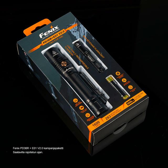 Fenix PD36R + E01 V2.0 lamppupaketti